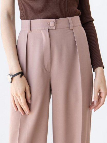 Широкие женские брюки с высокой талией цвета капучино, фото 1