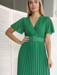 Шифоновое зеленое платье c юбкой-плиссе, имитацией запаха, коротким рукавом
