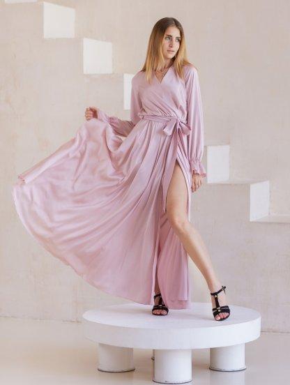 Вечернее пудровое нарядное длинное платье с длинным рукавом, фото 1
