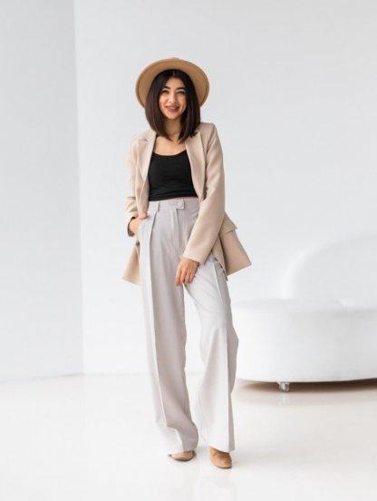 Широкие светлые женские брюки с высокой талией, фото 1