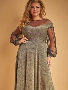 Длинное блестящее золотистое платье в пол с длинным рукавом