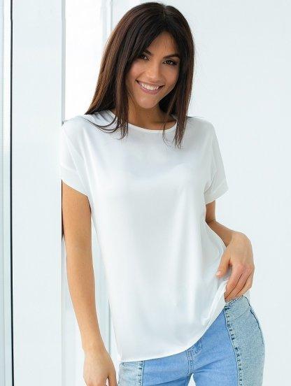 Летняя шелковая белая футболка, фото 1