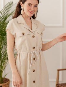 Бежевое платье на лето из натурального льна