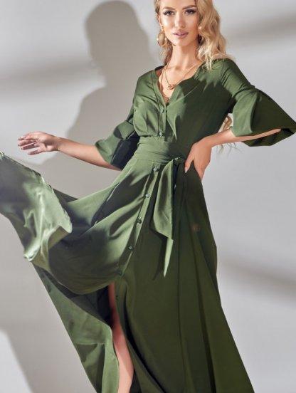 Длинное стильное платье цвета хаки с рукавом 3/4, фото 1