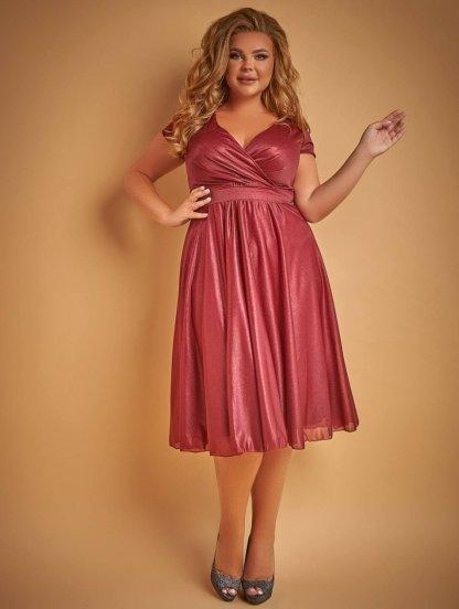 Блестящее платье длины миди цвета марсала, фото 1