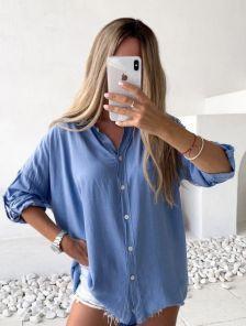 Рубашка голубая классическая с рукавом