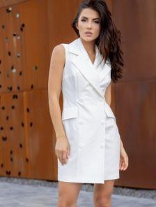 Белое платье-пиджак миди длины