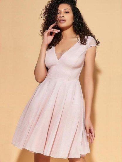Вечернее нарядное коктейльное короткое платье с широкой юбкой, фото 1