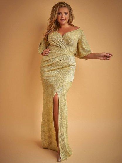 Длинное нарядное золотистое блестящее платье с разрезом, фото 1
