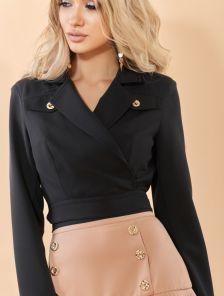 Стильный черный женский укороченный пиджак-жакет