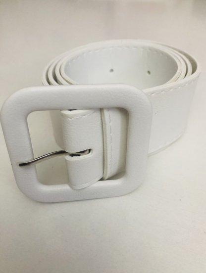 Белый пояс шириной 4 см с пряжкой в тон, фото 1