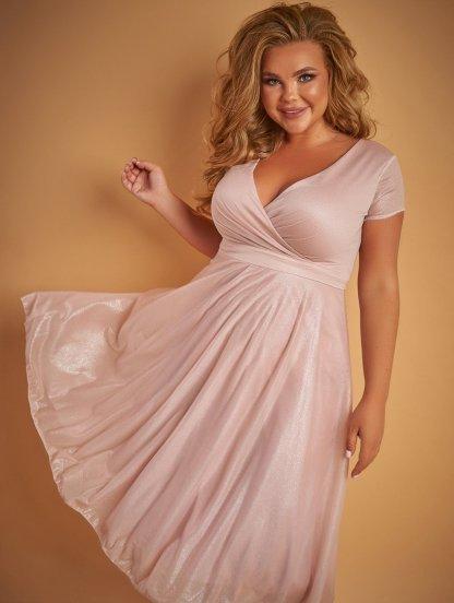 Вечернее платье миди пудрового цвета большого размера под пояс, фото 1