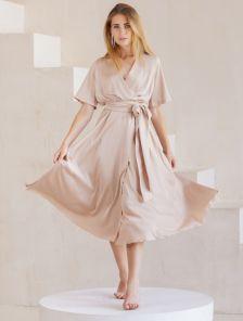 Шелковое однотонное легкое платье миди на короткий рукав и с юбкой-клеш