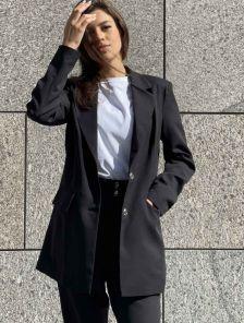 Стильный качественный женский пиджак черного цвета большого размера