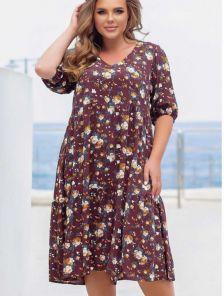 Летнее коричневое штапельное платье большого размера