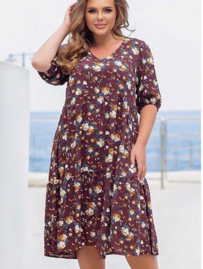 Летнее коричневое штапельное платье большого размера, фото 1