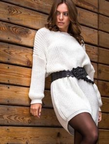 Теплая вязаная туника-платье молочного цвета