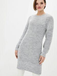 Вязаное теплое платье на длинный рукав серого цвета