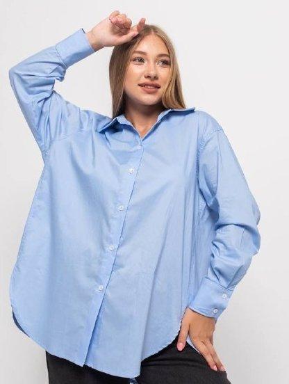 Рубашка голубая классическая с рукавом, фото 1