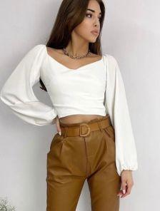 Белая женская нарядная блуза топ с объемными рукавами