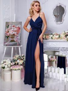 Вечернее шелковое синее платье в пол с разрезом на бретелях