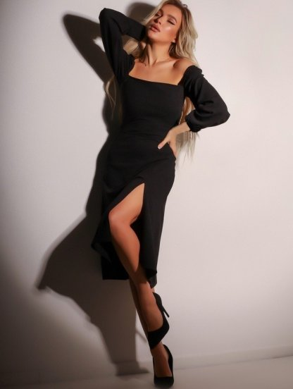 Черное летнее платье с квадратным вырезом, фото 1