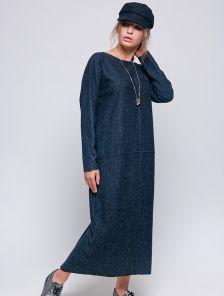 Теплое синее шерстяное платье на длинный рукав