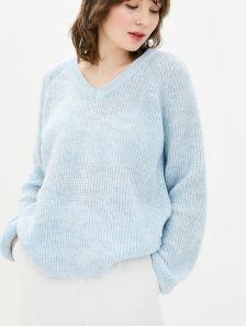 Голубой теплый свободный джемпер с V-образным вырезом