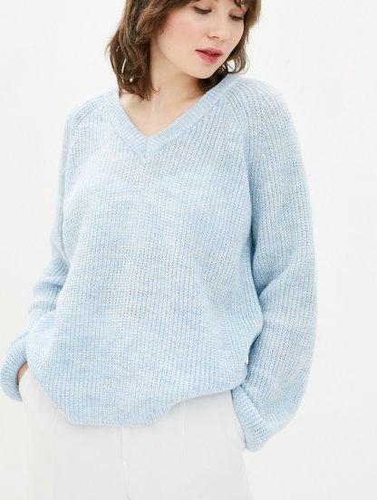 Голубой теплый свободный джемпер с V-образным вырезом, фото 1