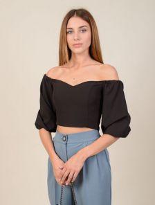 Черная женская блуза топ с объемными рукавами