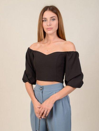 Черная женская блуза топ с объемными рукавами, фото 1