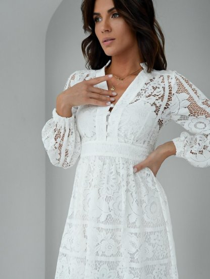 Летнее белое короткое кружевное платье с длинным рукавом миди длины, фото 1