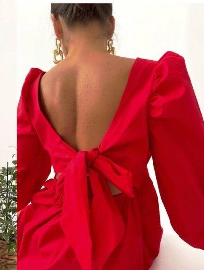 Красное летнее хлопковое платье с квадратным вырезом, открытой спинкой и бантом, фото 1