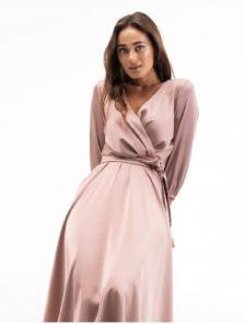 Нарядное атласное платье миди с запахом и рукавом 3/4 цвета капучино