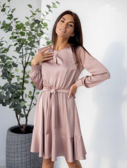 Нарядное пудровое шелковое короткое платье, фото 1