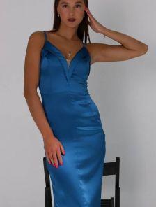 Нарядное вечернее синее платье на тонких бретелях
