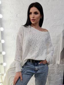 Белый женский стильный джепер оверсайс