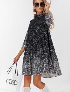 Модное короткое черное платье в складку гофре и белый горошек