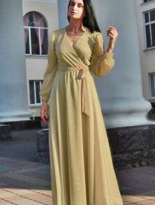 Вечернее светлое нарядное платье в пол на длинный рукав