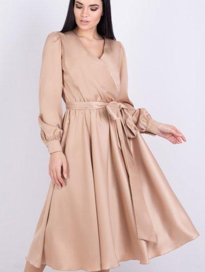 Нарядное золотое шелковое платье до косточки на длинный рукав, фото 1