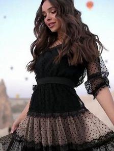Нарядное коктейльное кружевное платье с пышным рукавчиком