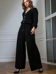 Теплый вязаный костюм черного цвета