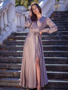 Длинное нарядное вечернее пудровое платье
