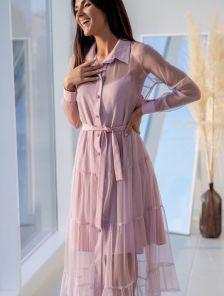 Стильное женское платье двойка пудрового цвета