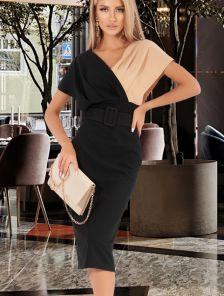 Нарядное двухцветное платье футляр с поясом, черный с бежевым