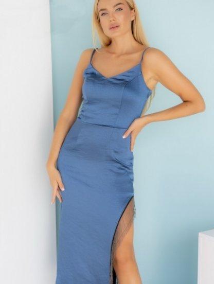 Элегантное нарядное синее атласное платье с разрезом, фото 1