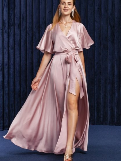 Пудровое нарядное шелковое вечернее платье в пол на короткий рукав, фото 1