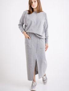 Стильный шерстяной серый женский костюм 2-ка, 70% шерсти