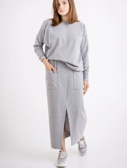 Стильный шерстяной серый женский костюм 2-ка, 70% шерсти, фото 1