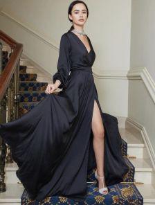 Длинное нарядное вечернее платье черного цвета